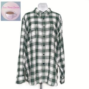 Nautica Green Plaid Long Sleeve Button Up Shirt